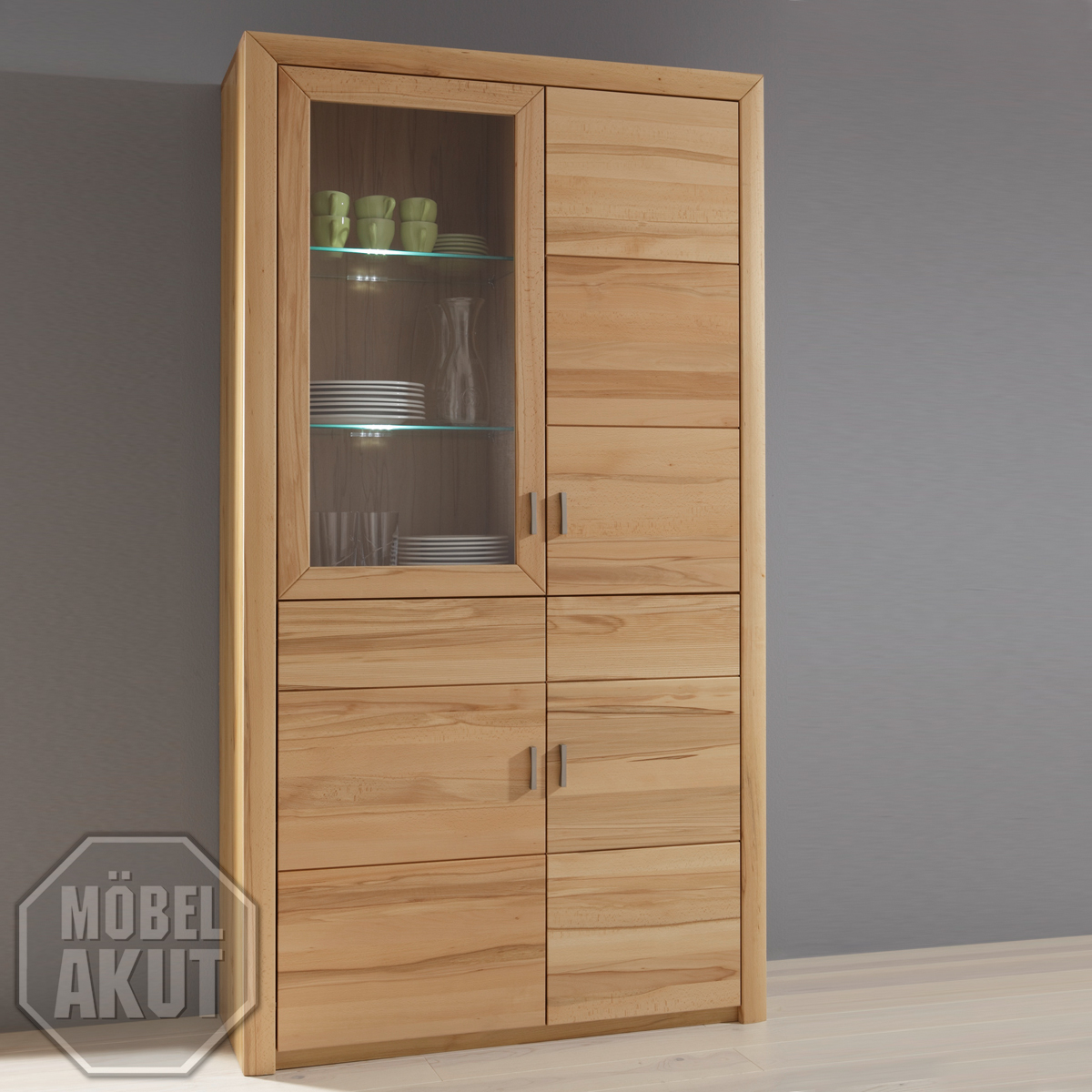 vitrine passepartout 08 schrank mit glast ren in kernbuche massiv ebay. Black Bedroom Furniture Sets. Home Design Ideas