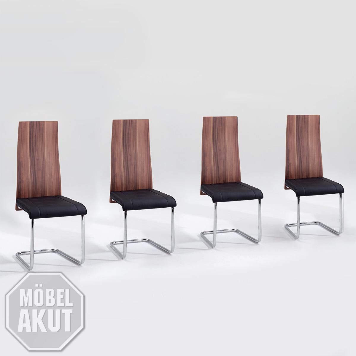 stuhl figo 4er set schwingstuhl schwinger in walnuss und schwarz ebay. Black Bedroom Furniture Sets. Home Design Ideas