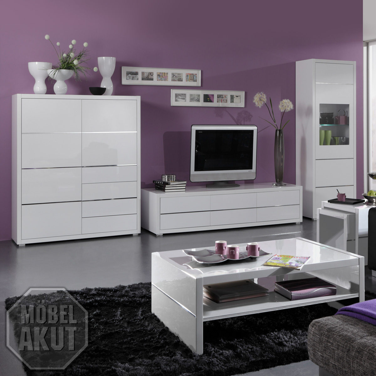 wohnwand sydney anbauwand wohnzimmer in wei hochglanz. Black Bedroom Furniture Sets. Home Design Ideas