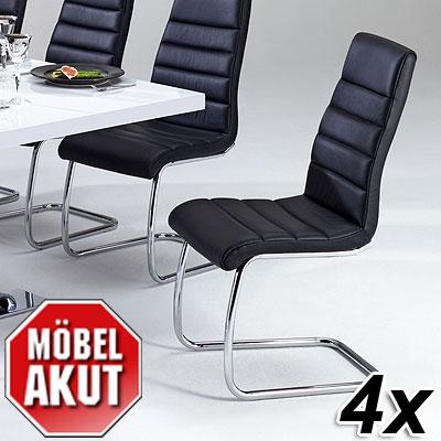 4er set schwingstuhl brian stuhl schwarz echtes leder. Black Bedroom Furniture Sets. Home Design Ideas