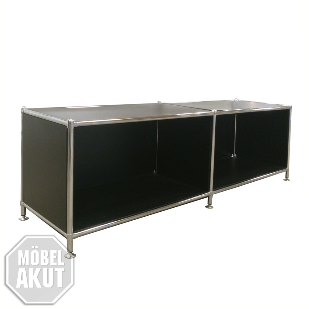 lowboard piko regal in metall schwarz und chrom neu ebay. Black Bedroom Furniture Sets. Home Design Ideas