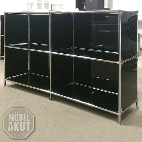 sideboard piko regal metall chrom glas schwarz neu ebay. Black Bedroom Furniture Sets. Home Design Ideas