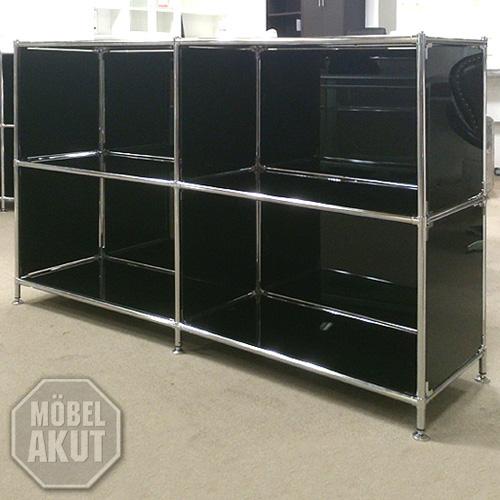 Sideboard piko regal metall chrom glas schwarz neu ebay for Regal metall schwarz