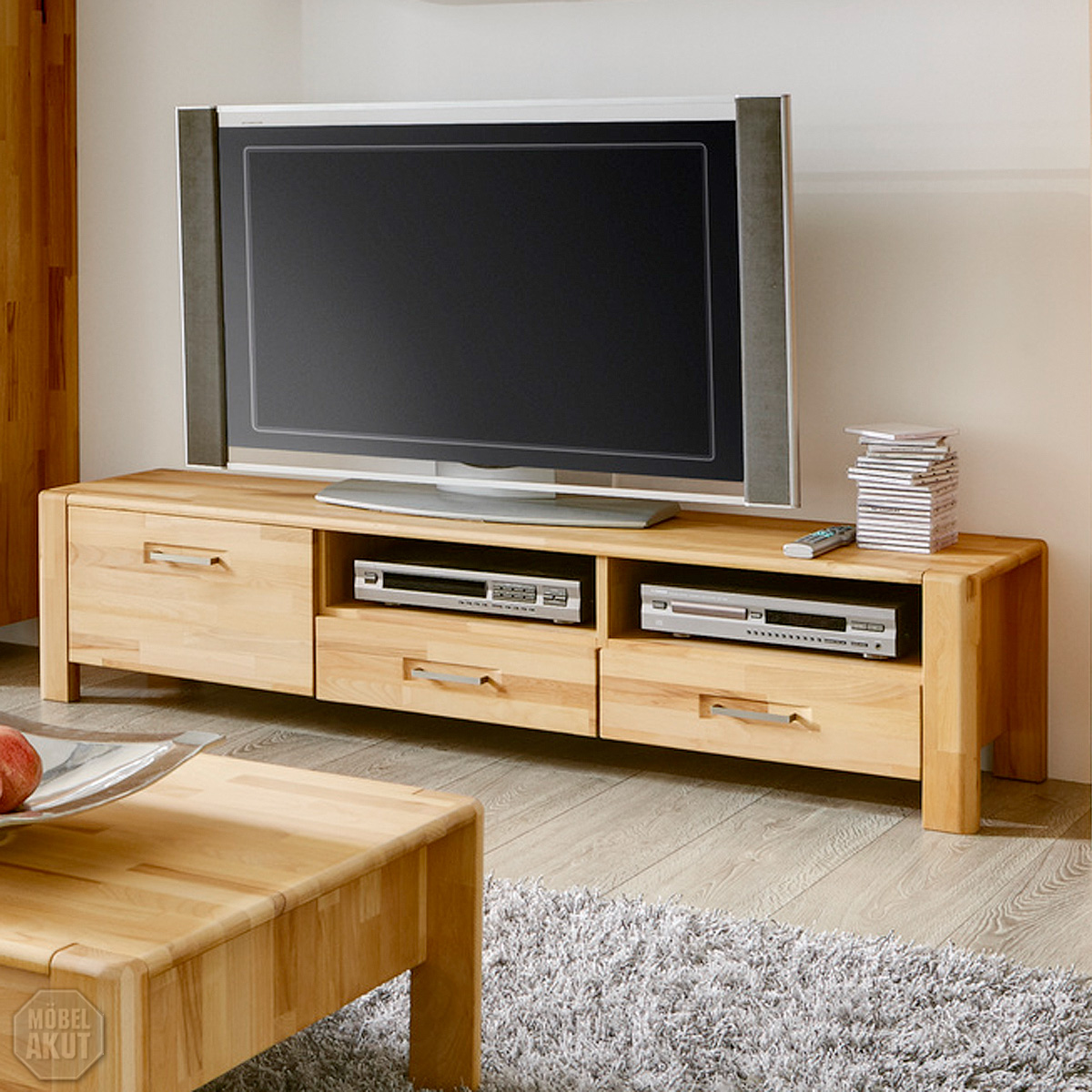 tv board milla lowboard tv regal hifi in kern buche massiv ge lt kanten gerundet ebay. Black Bedroom Furniture Sets. Home Design Ideas