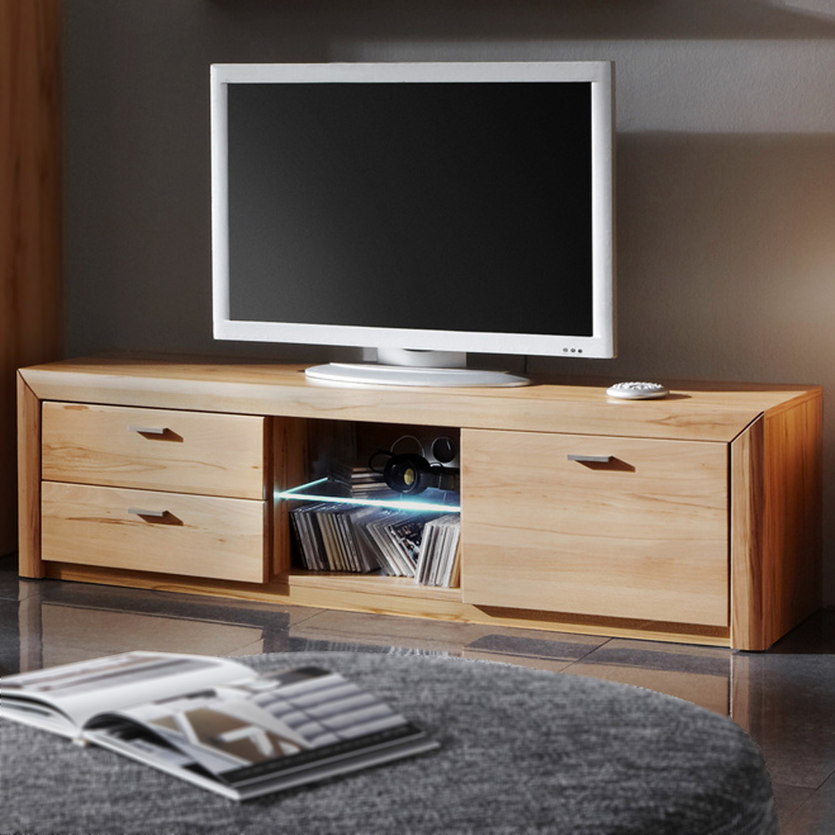 tv board passepartout 02 lowboard media m bel in kernbuche massiv wachseffekt ebay. Black Bedroom Furniture Sets. Home Design Ideas