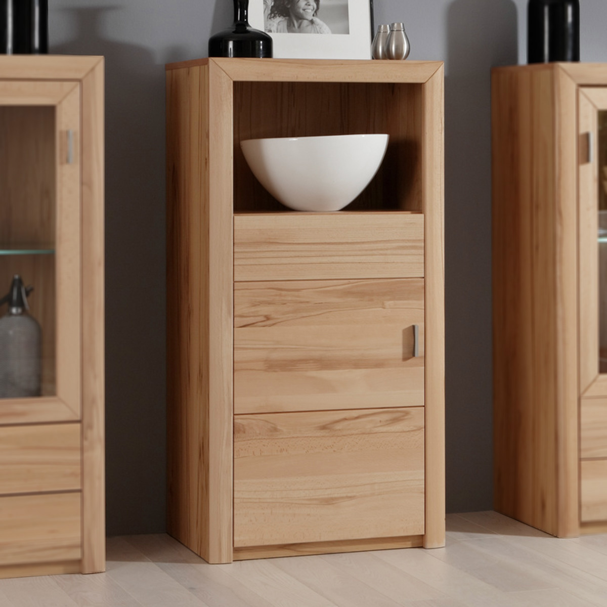 highboard passepartout 05 l vitrine kommode in kernbuche massiv ebay. Black Bedroom Furniture Sets. Home Design Ideas