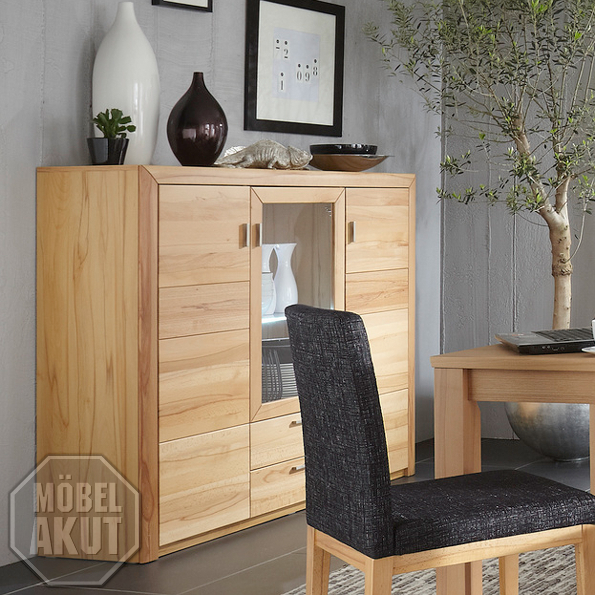 highboard passepartout 06 kommode schrank in kernbuche massiv ebay. Black Bedroom Furniture Sets. Home Design Ideas
