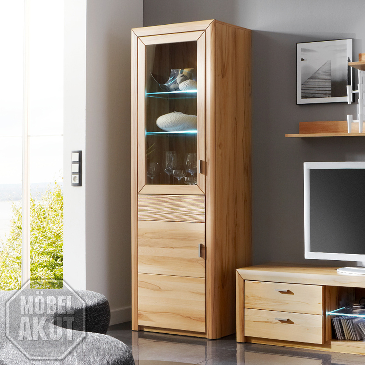 vitrine passepartout 07 l wohnzimmer schrank kernbuche massiv ebay. Black Bedroom Furniture Sets. Home Design Ideas