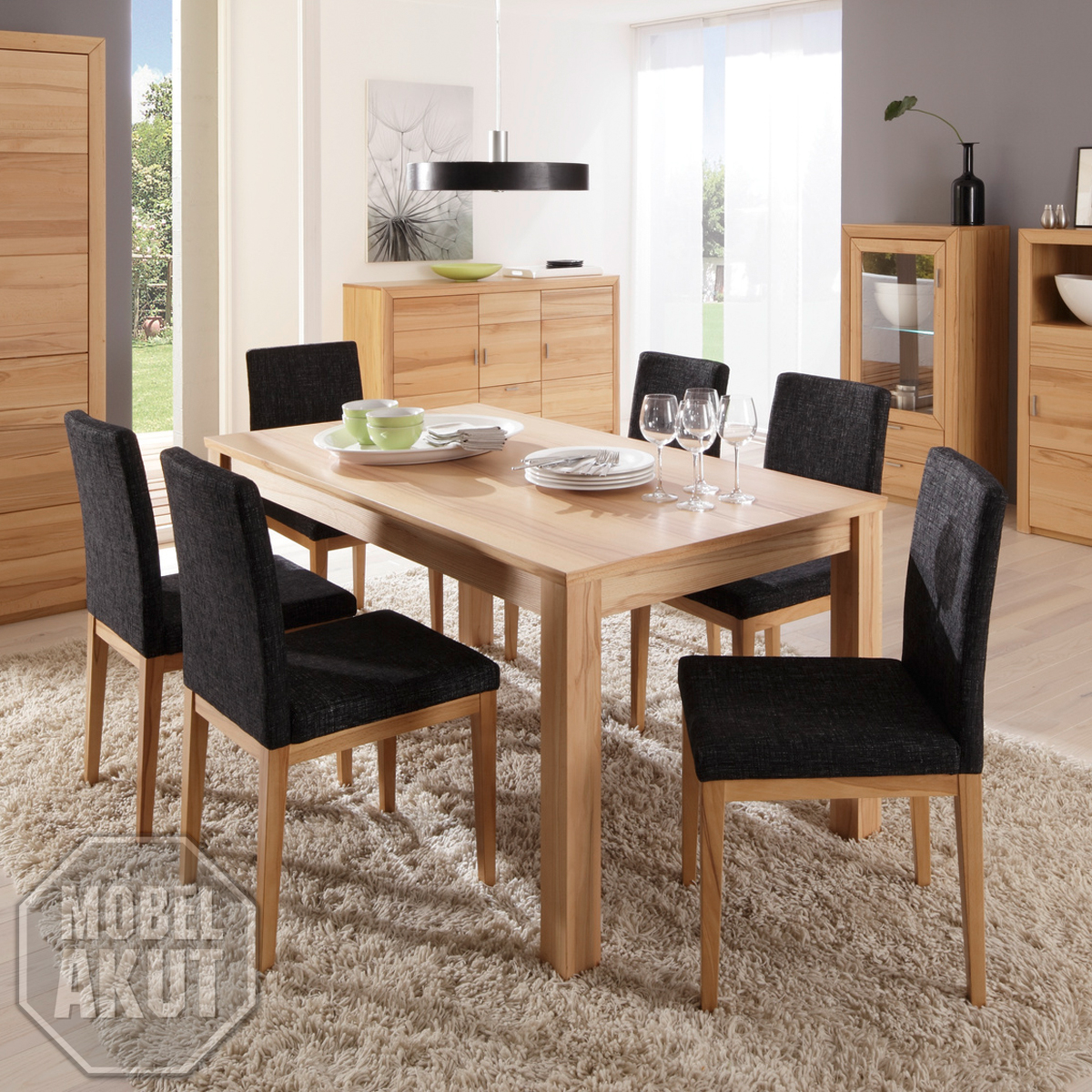 esstisch passepartout t14 tisch in kernbuche massiv ausziehbar 140 190x90 ebay. Black Bedroom Furniture Sets. Home Design Ideas