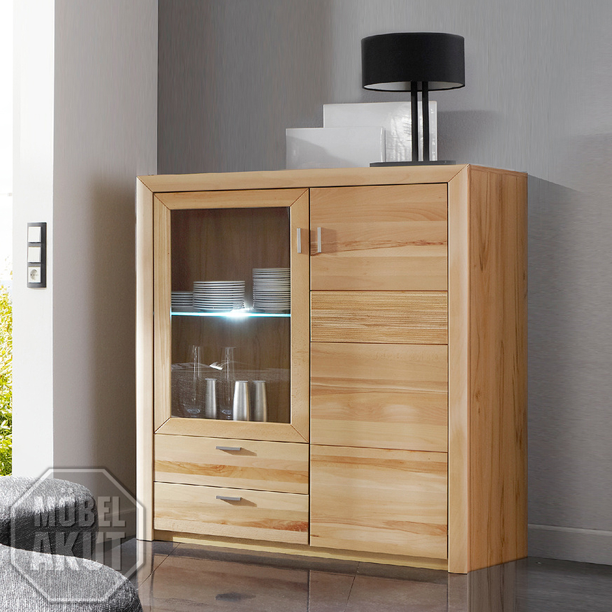 highboard passepartout 06a wohnzimmer schrank in kernbuche massiv ebay. Black Bedroom Furniture Sets. Home Design Ideas