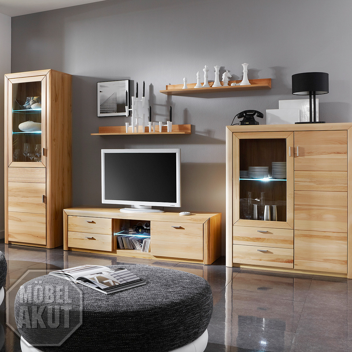 wohnwand passepartout wohnzimmer in kernbuche massiv ebay. Black Bedroom Furniture Sets. Home Design Ideas