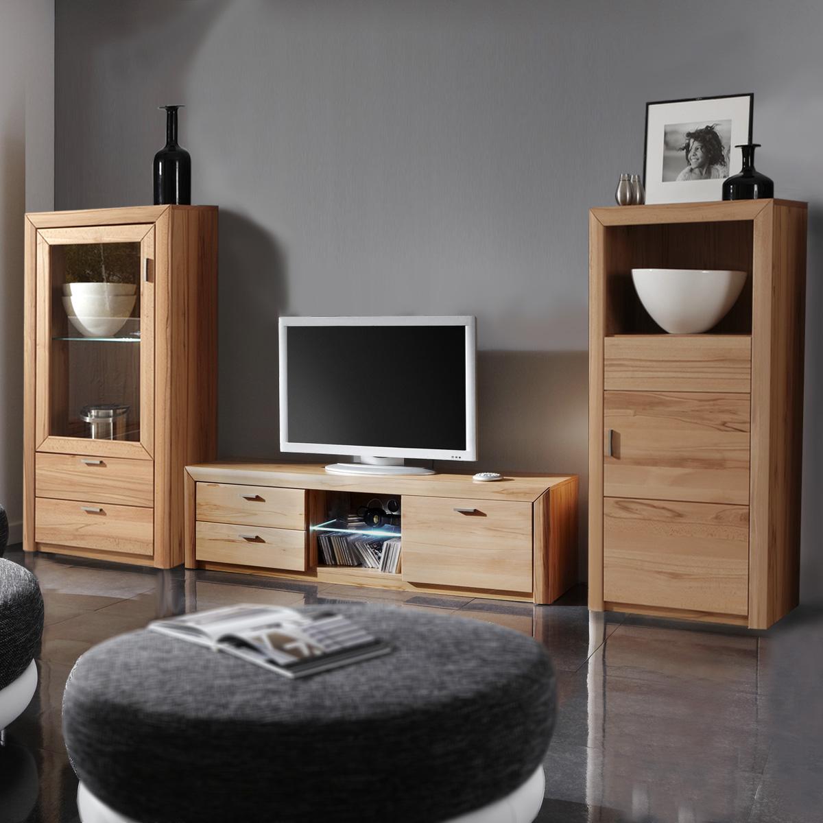 wohnwand passepartout kernbuche anbauwand 3 tlg. Black Bedroom Furniture Sets. Home Design Ideas