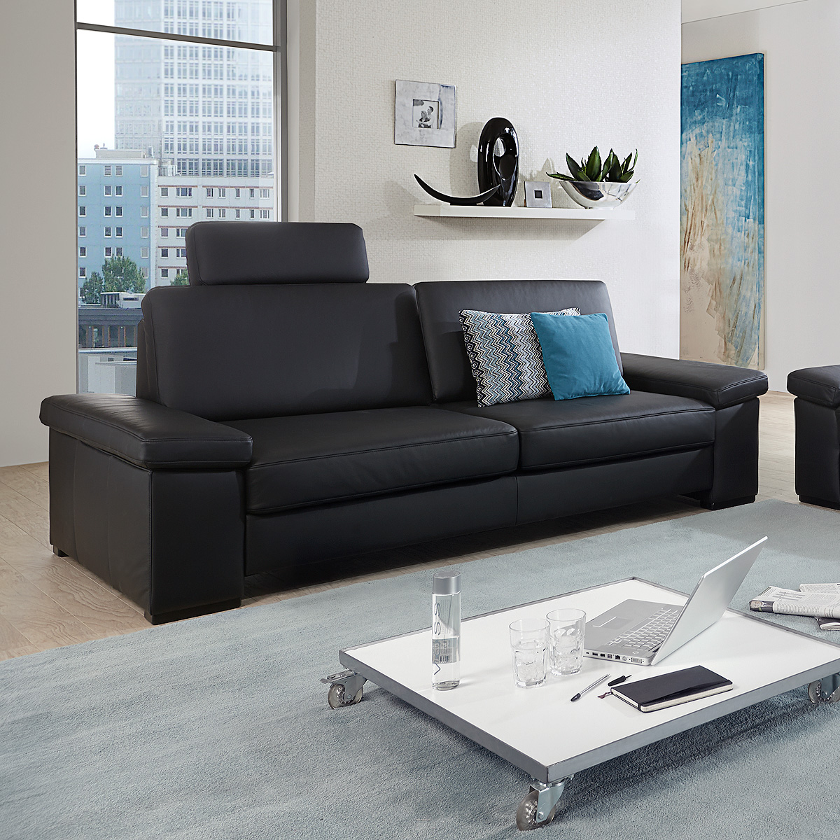 sofa 3er puzzle 3 sitzer polsterm bel in echt leder schwarz 228 cm ebay. Black Bedroom Furniture Sets. Home Design Ideas