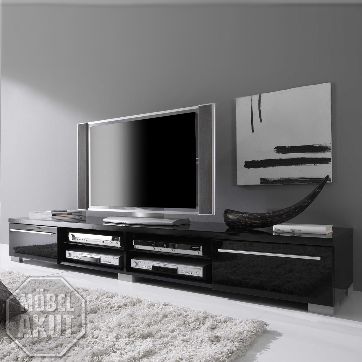 tv board beta lowboard schwarz echt hochglanz neu ebay. Black Bedroom Furniture Sets. Home Design Ideas