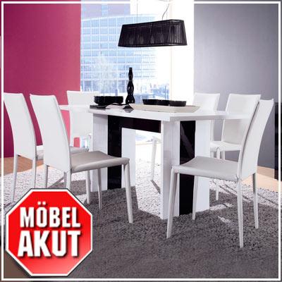 esstisch venice tisch schwarz wei hochglanz 180 cm ebay. Black Bedroom Furniture Sets. Home Design Ideas