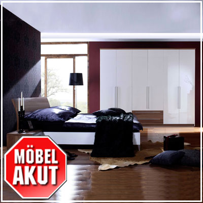 schlafzimmer set maxy wei hochglanz lack nussbaum ebay. Black Bedroom Furniture Sets. Home Design Ideas