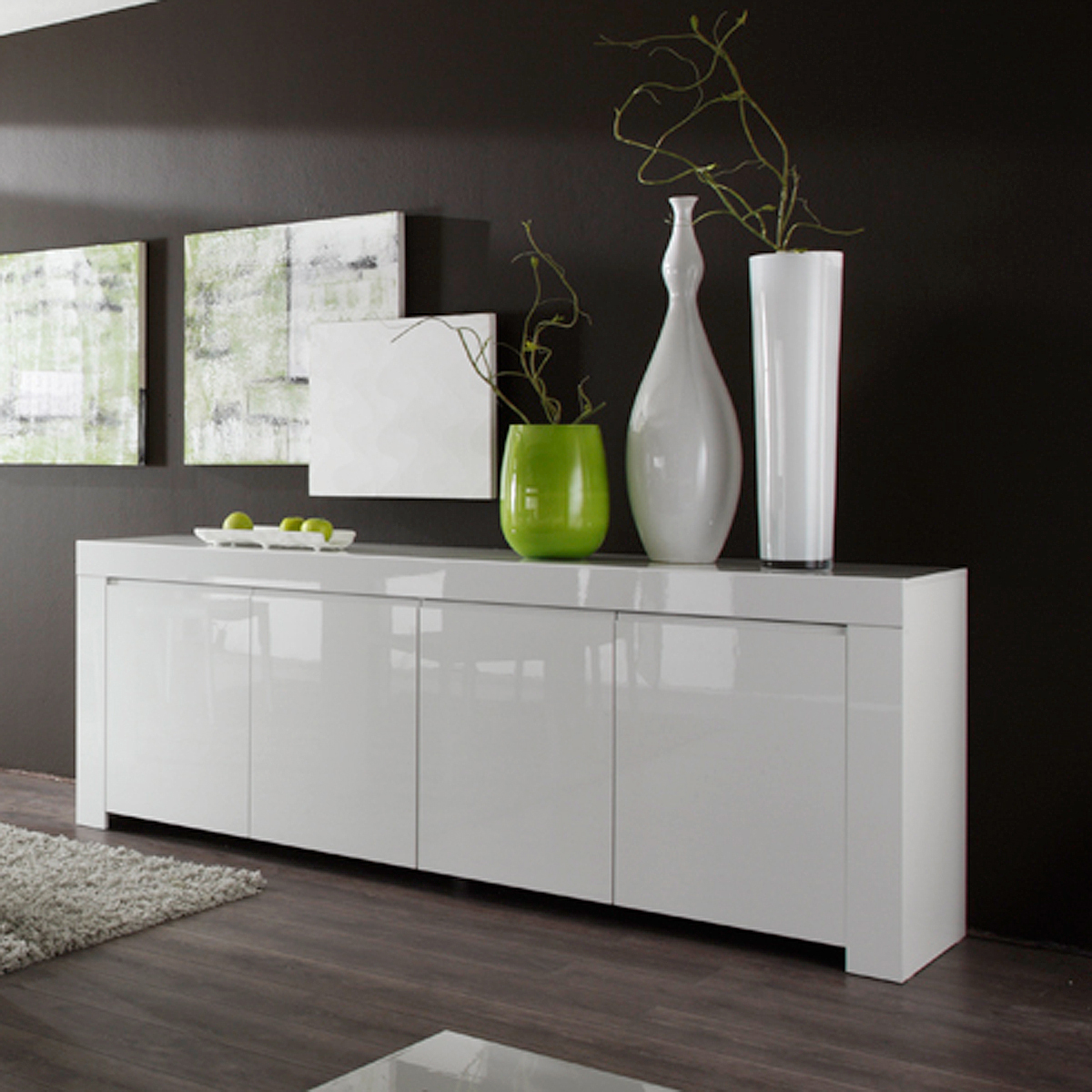 sideboard amalfi wohnzimmer anrichte in wei echt hochglanz lackiert 210cm breit ebay. Black Bedroom Furniture Sets. Home Design Ideas