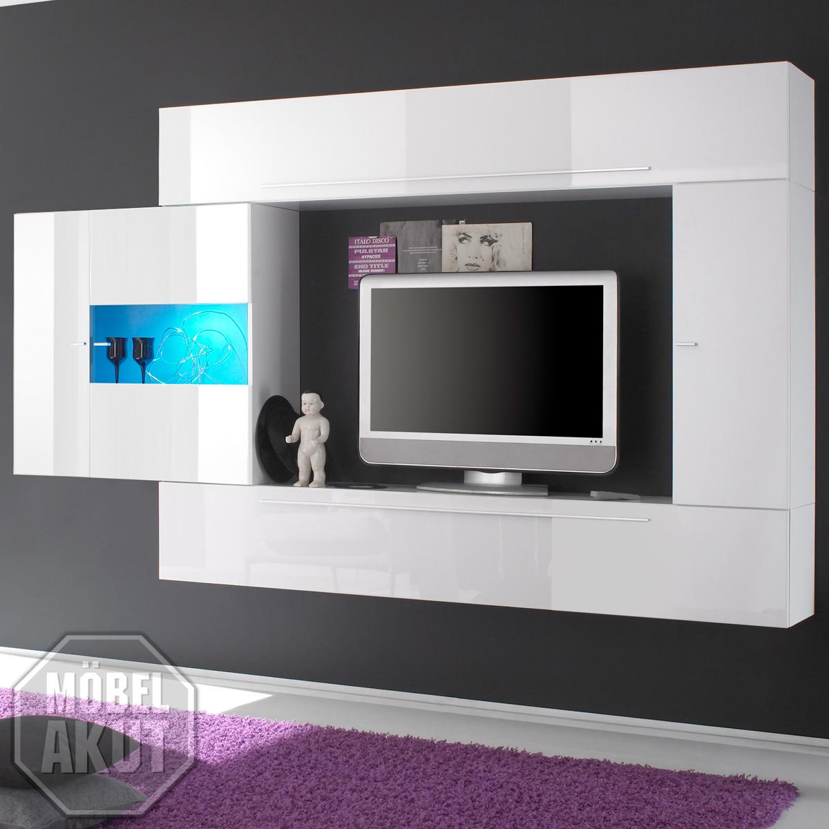 wohnwand primo anbauwand wohnzimmer in wei schwarz echt