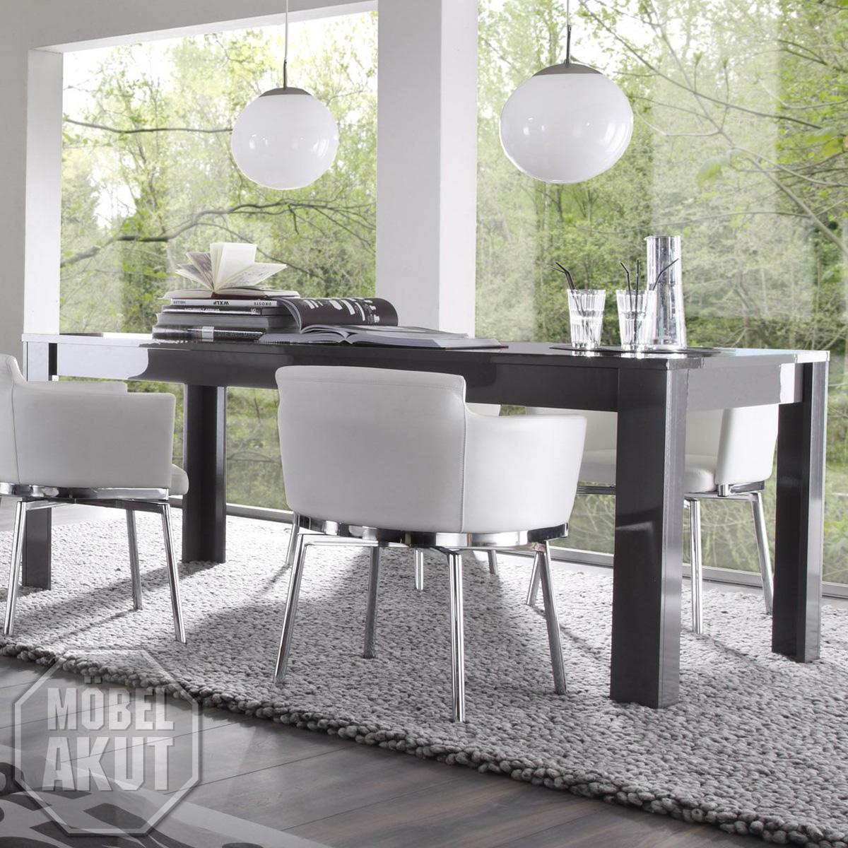 esstisch amalfi tisch grau echt hochglanz b 180 cm ebay. Black Bedroom Furniture Sets. Home Design Ideas