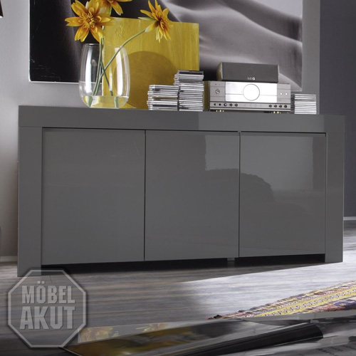 sideboard amalfi kommode lack grau echt hochglanz neu. Black Bedroom Furniture Sets. Home Design Ideas