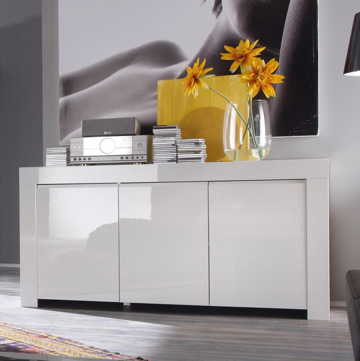 Sideboard amalfi wohnzimmer anrichte schrank wei hochglanz lackiert 160cm ebay - Wohnzimmer anrichte ...