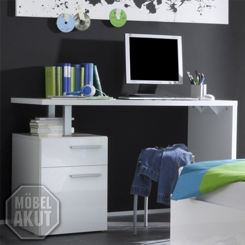 schreibtisch amalfi computertisch tisch wei echt hochglanz neu ebay. Black Bedroom Furniture Sets. Home Design Ideas