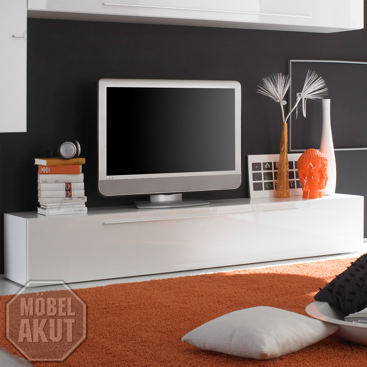 tv lowboard primo tv board in wei hochglanz lackiert mit 1 klappe ebay. Black Bedroom Furniture Sets. Home Design Ideas