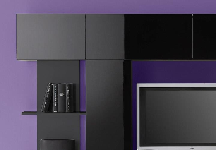 wohnwand cubo wohnzimmer designer anbauwand schwarz hochglanz lackiert eur 189 95 picclick de. Black Bedroom Furniture Sets. Home Design Ideas