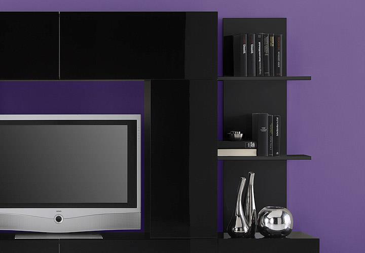 wohnwand cubo wohnzimmer designer anbauwand schwarz hochglanz lackiert ebay