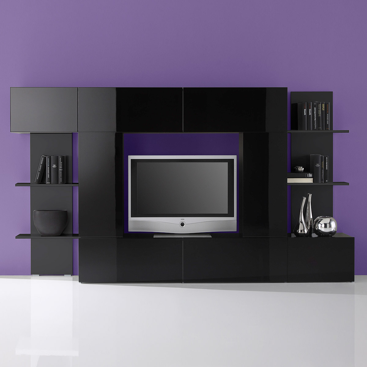 wohnwand cubo wohnzimmer designer anbauwand schwarz hochglanz lackiert. Black Bedroom Furniture Sets. Home Design Ideas