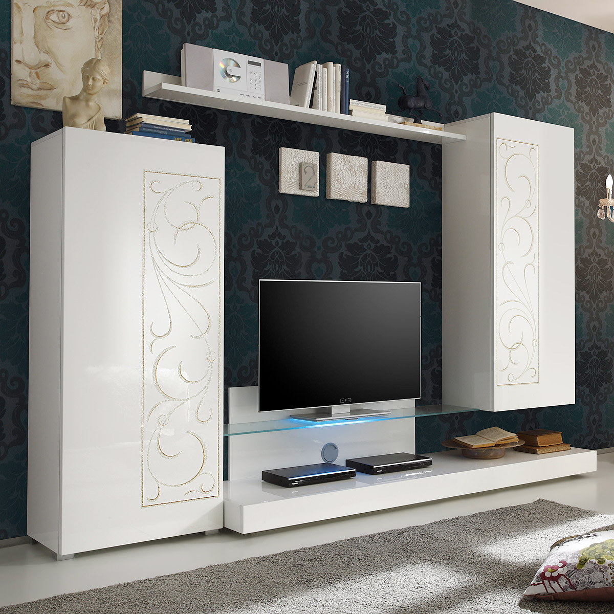 wohnwand padua anbauwand wohnzimmer hochglanz wei lackiert mit siebdruck. Black Bedroom Furniture Sets. Home Design Ideas