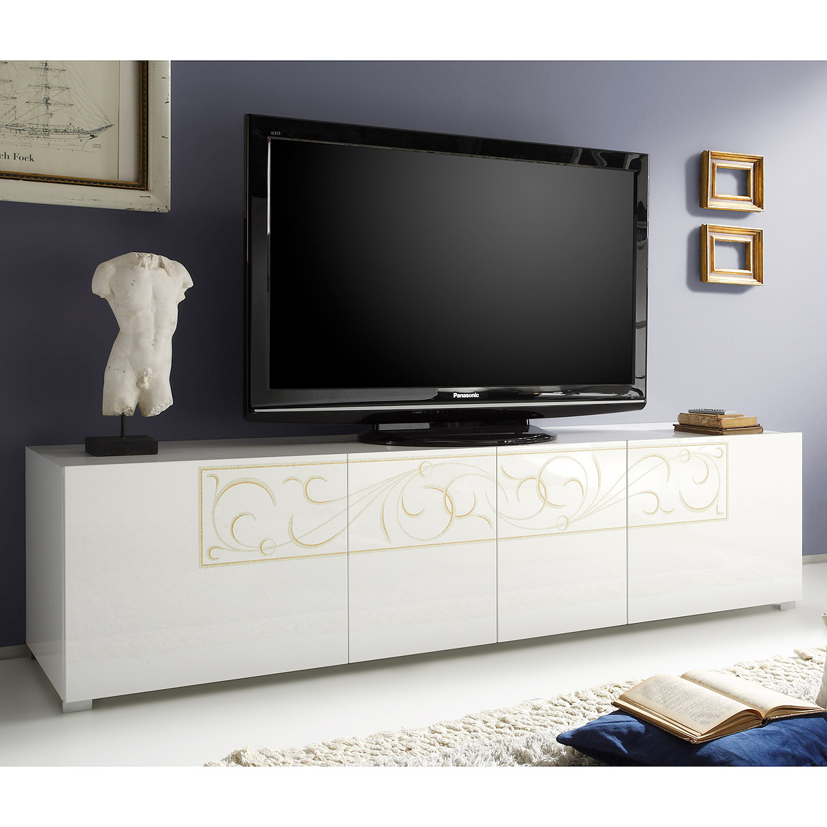 tv element padua lowboard kommode hochglanz wei lackiert mit siebdruck ebay. Black Bedroom Furniture Sets. Home Design Ideas