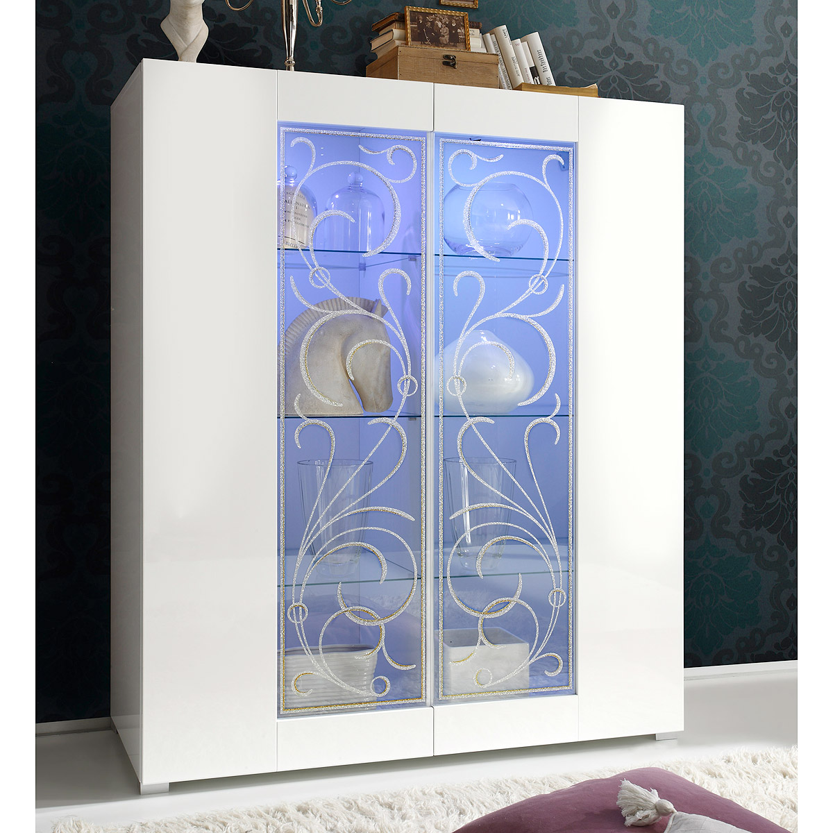 vitrine padua kommode schrank hochglanz wei lackiert mit siebdruck ebay. Black Bedroom Furniture Sets. Home Design Ideas
