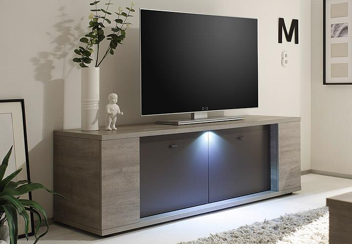 tv element sidney lowboard kommode eiche grau anthrazit matt inkl led 137 cm eur 267 95. Black Bedroom Furniture Sets. Home Design Ideas