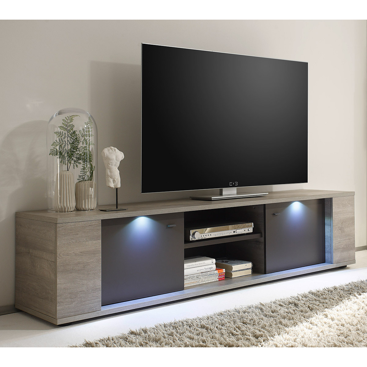 tv element sidney lowboard kommode eiche grau anthrazit matt inkl led 190 cm eur 317 95. Black Bedroom Furniture Sets. Home Design Ideas