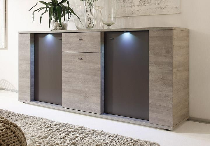 sideboard sidney kommode anrichte eiche grau anthrazit matt inkl led ebay. Black Bedroom Furniture Sets. Home Design Ideas