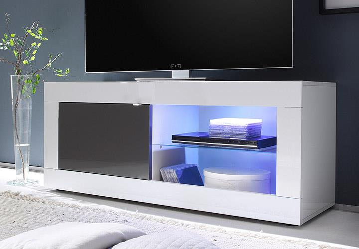 tv element basic lowboard kommode wei und anthrazit lackiert b 140 cm ebay. Black Bedroom Furniture Sets. Home Design Ideas
