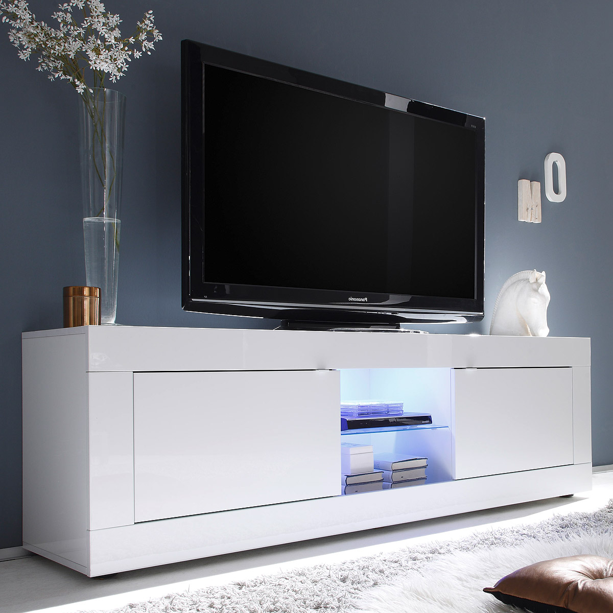 tv element basic lowboard kommode wei lackiert b 181 cm ebay. Black Bedroom Furniture Sets. Home Design Ideas