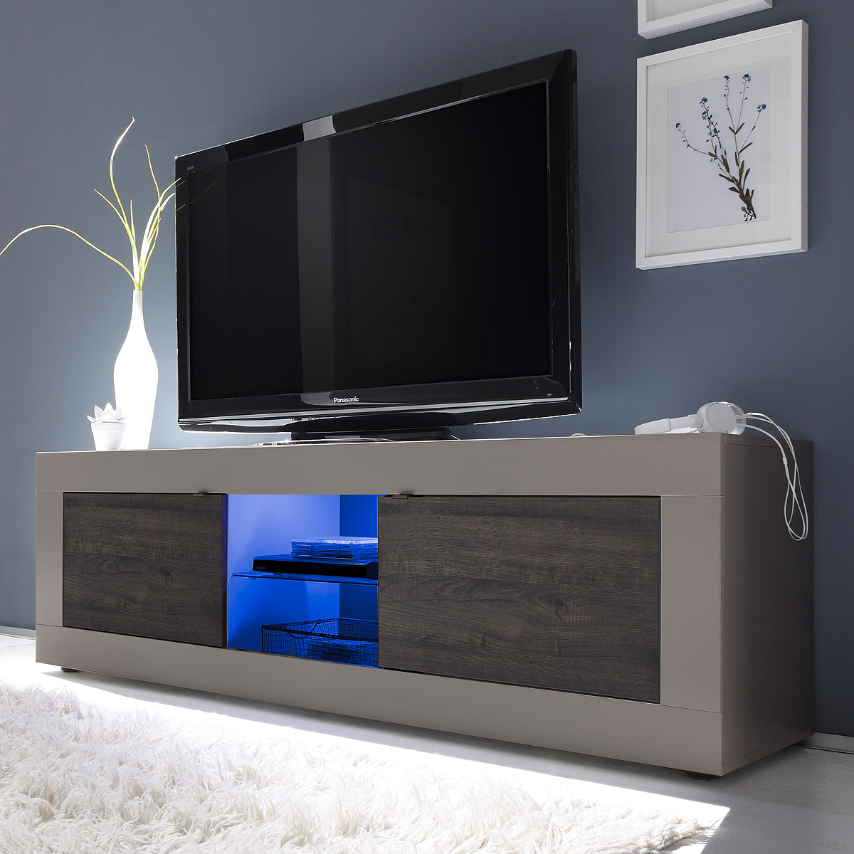tv element basic lowboard kommode beige matt und eiche. Black Bedroom Furniture Sets. Home Design Ideas