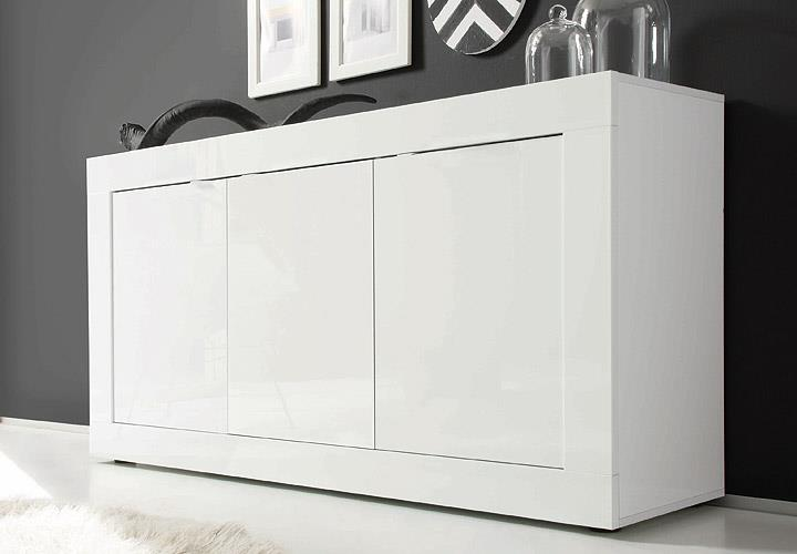 sideboard basic wohnzimmer kommode wei lackiert 3 t rig ebay. Black Bedroom Furniture Sets. Home Design Ideas