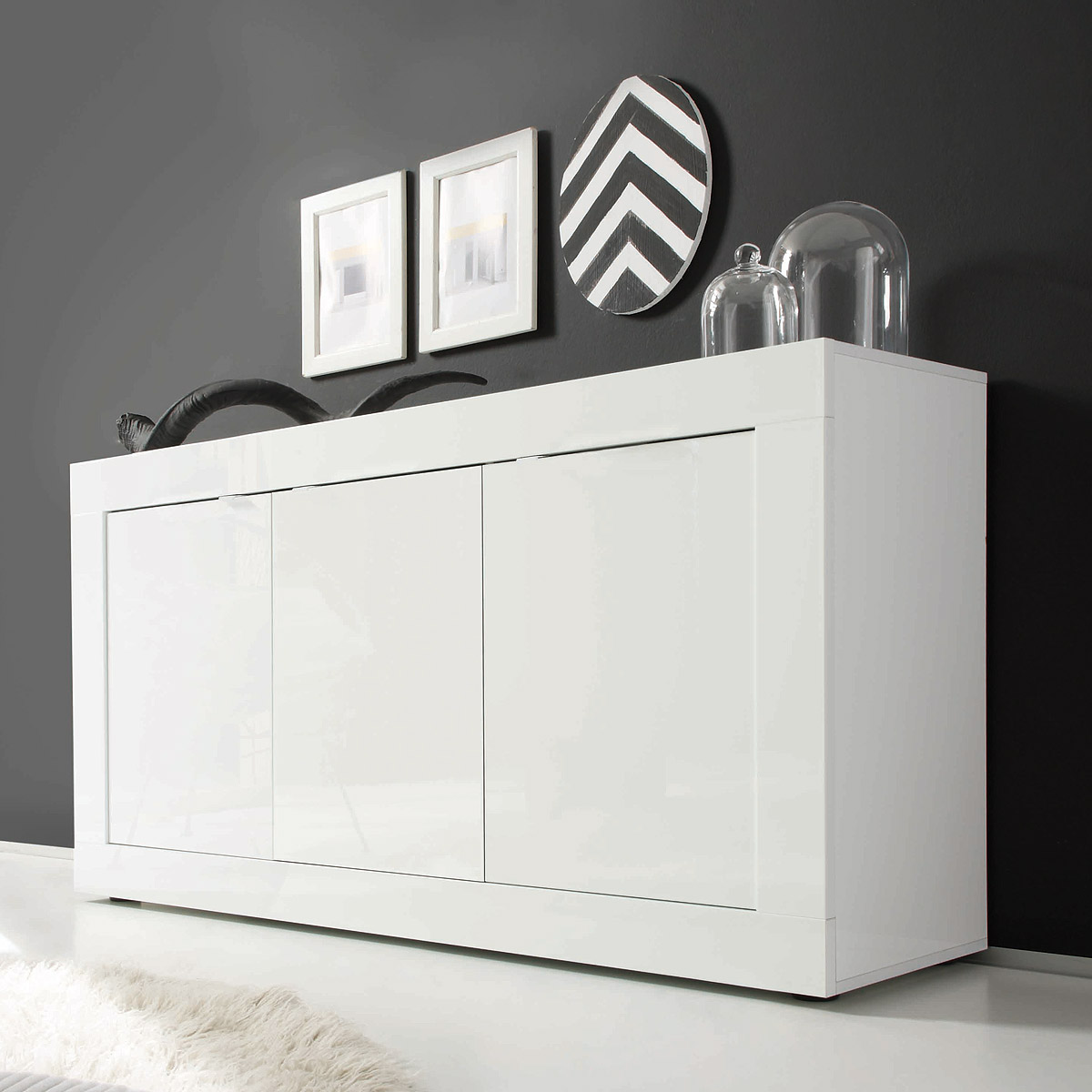 sideboard basic wohnzimmer kommode wei lackiert 3 t rig. Black Bedroom Furniture Sets. Home Design Ideas