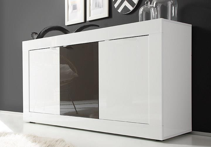 sideboard basic kommode wei und anthrazit lackiert b 160 cm. Black Bedroom Furniture Sets. Home Design Ideas
