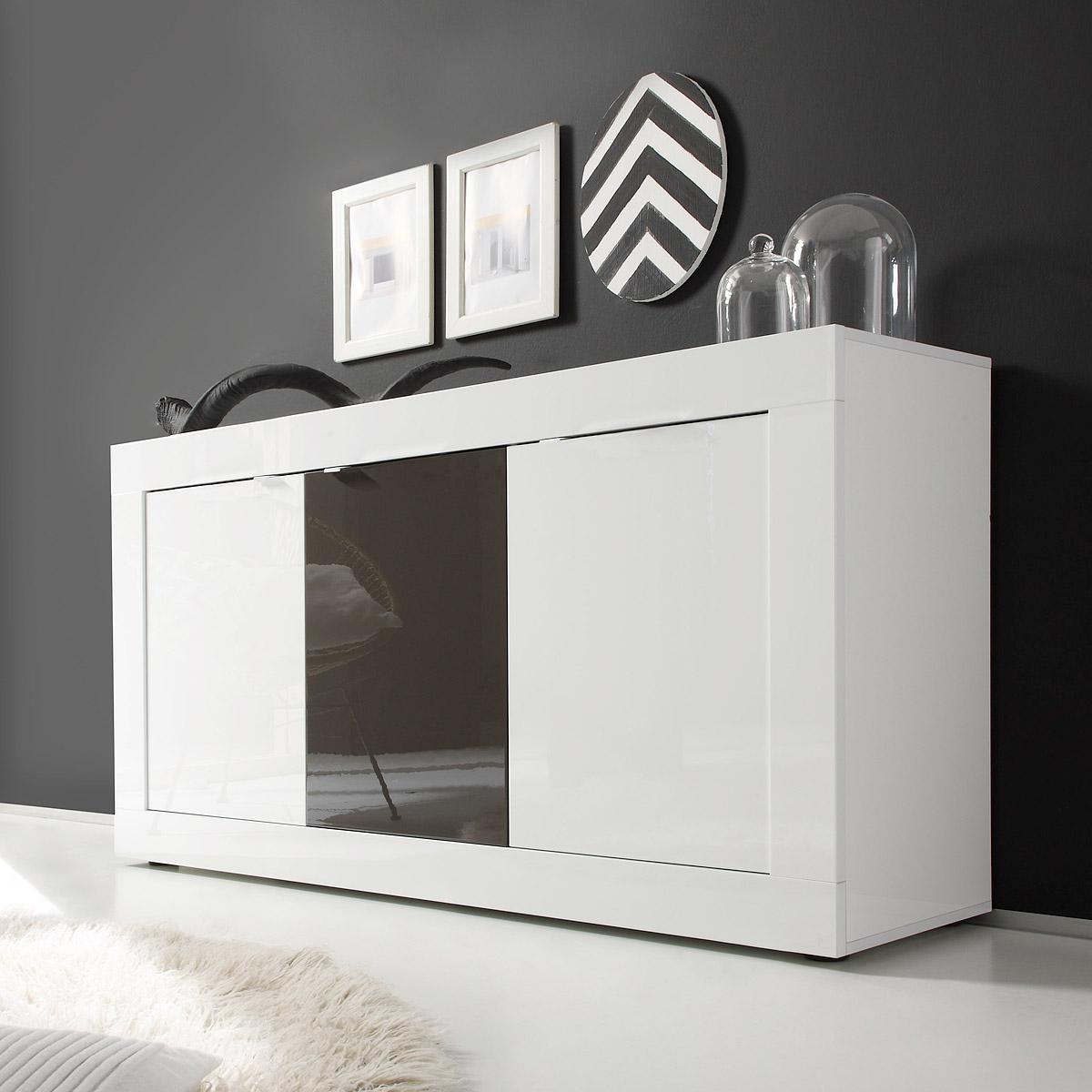 sideboard basic kommode wei und anthrazit lackiert b 160 cm. Black Bedroom Furniture Sets. Home Design Ideas