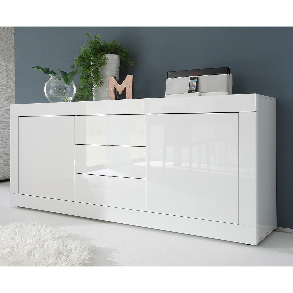 sideboard basic wohnzimmer kommode wei lackiert breite. Black Bedroom Furniture Sets. Home Design Ideas