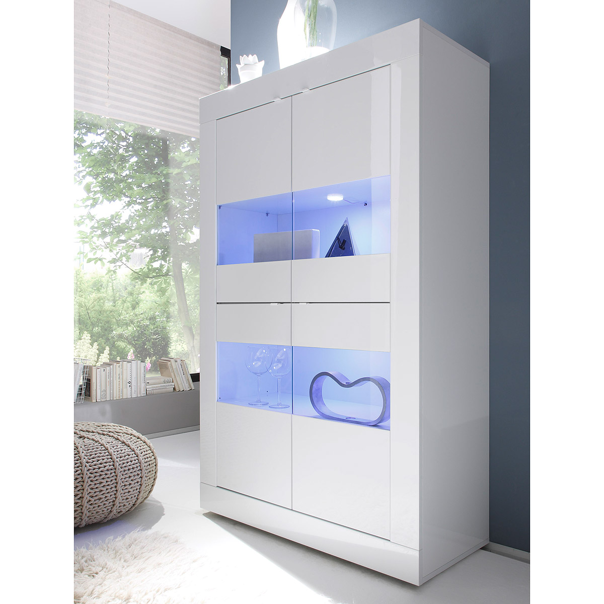 vitrine basic schrank wohnzimmer breit wei lackiert ebay. Black Bedroom Furniture Sets. Home Design Ideas