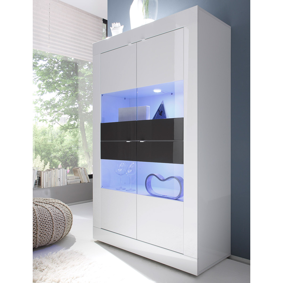 vitrine basic schrank wohnzimmer breit wei und anthrazit lackiert ebay. Black Bedroom Furniture Sets. Home Design Ideas
