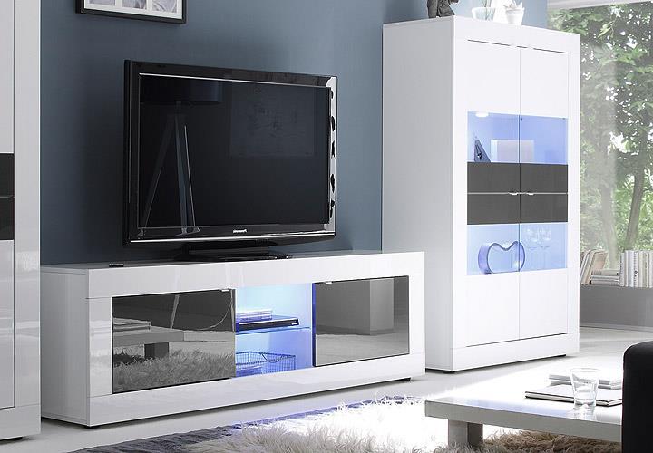 wohnwand basic anbauwand 3 teilig wei und anthrazit lackiert ebay. Black Bedroom Furniture Sets. Home Design Ideas