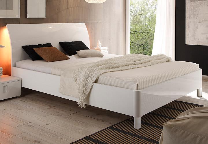 Bett Lidia Doppelbett Schlafzimmer weiß Hochglanz lackiert 180x200 ...