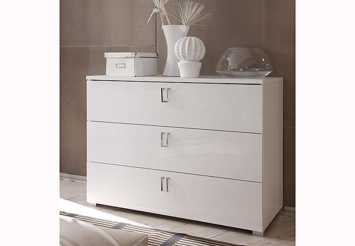 kommode lidia anrichte sideboard schlafzimmer wei hochglanz lackiert wei mela ebay. Black Bedroom Furniture Sets. Home Design Ideas