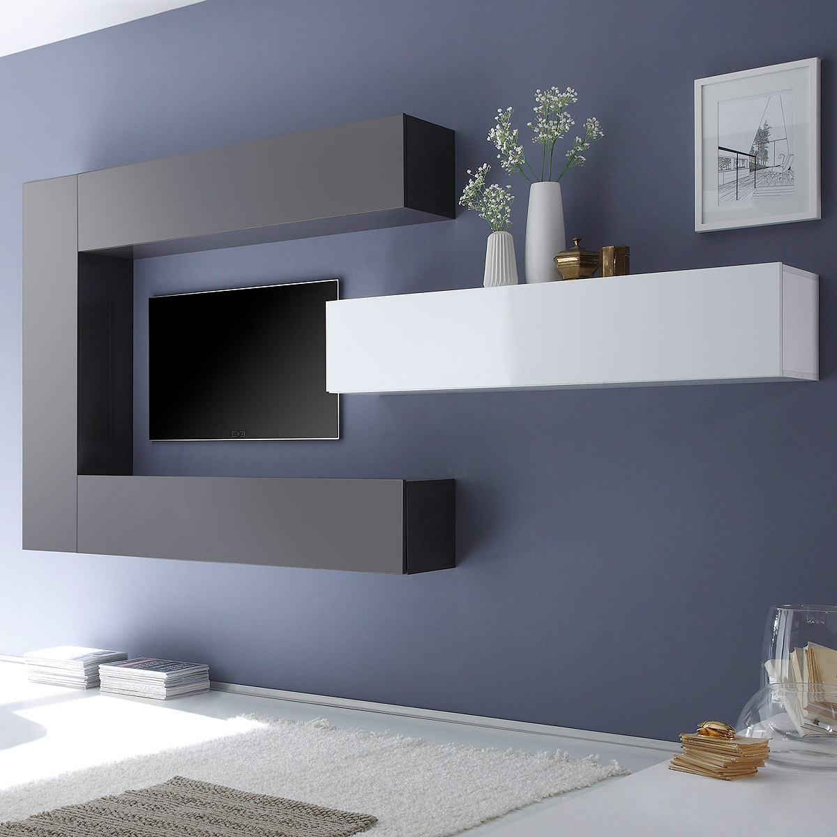 wohnwand cube kombi 2 anbauwand wei lack und anthrazit lack ebay. Black Bedroom Furniture Sets. Home Design Ideas